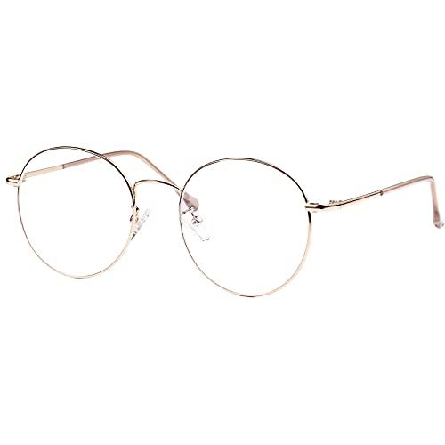 ROSA&ROSE Blaulichtfilter Brillen Computer Gaming Brillen Anti Müdigkeit Lesebrille für Herren Damen – UV-Schutz (gold)