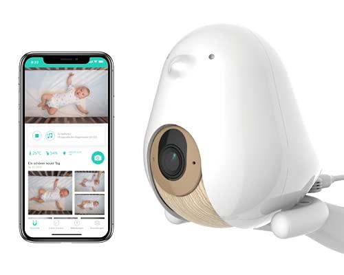 CuboAi Plus Smartes Babyphone: Warnungen bei bedecktem Gesicht - Gefahrenzonen - Schlafüberwachung - 1080p HD-Nachtsichtkamera, 2-Wege-Audio, Schrei und Temperaturerkennung (inkl. 3 Standoptionen)