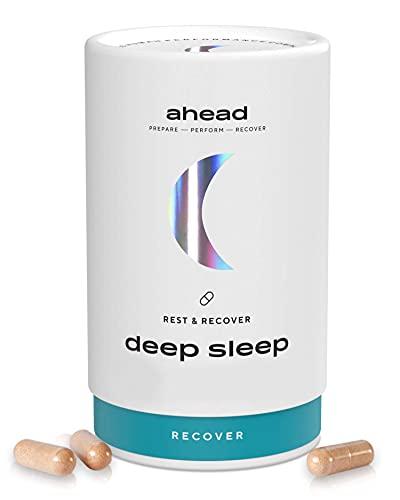 ahead DEEP SLEEP | Natürliche Einschlafhilfe für Erwachsene - Pflanzliche Wirkstoffe für die Nacht - 90 Tabletten als Monatsvorrat - hochdosiert & 100% Vegan