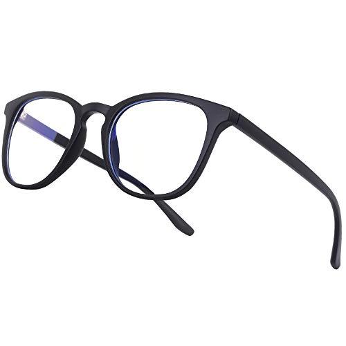 Vimbloom Blaulichtfilter Brille Computerbrille PC Gaming Bluelight Filter Uv Blue Light Blocking Glasses Anti Damen Herren Ohne Stärke Entspiegelt VI387 (Schwarz matt)