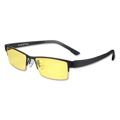 KLIM Optics - Blaulichtfilter Brille + Hoher Schutz + Gaming Brille für PC, Handy und Fernseher + Anti-Müdigkeit, Anti-Blaulicht, UV-Schutz [ Neue 2021 Version ]