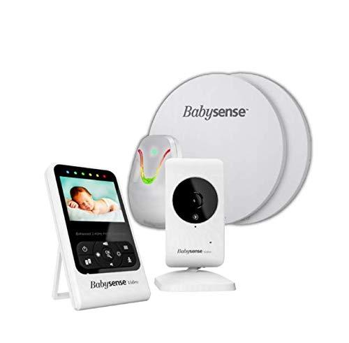BABYSENSE SET V24R Babyphone mit Sensormatten und Kamera: Babysene Video Babyphone + Bewegung & Atmungsüberwachung. Kompletter Set zur Überwachung Ihres Kindes