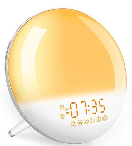 Wake Up Light Tageslichtwecker Sonnenaufgang - Lichtwecker mit Radio für Kinder & Erwachsene, Wecker mit Licht, 2 Alarme/7 Wecktöne/7 Farben Nachtlicht