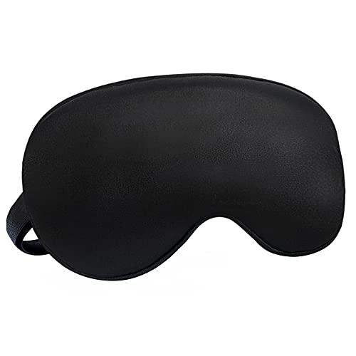 Audamp Schlafmaske Augenmaske Nachtmaske Verstellbarem band 100% Hautfreundlich Seide Ultraweiche Schlafbrille (1-Pack, Schwarz)