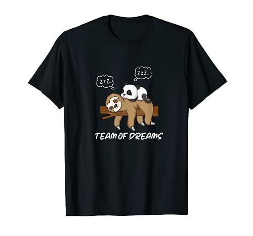 Kleiner Panda Schlafen auf Faultier Schnarchen Team T-Shirt