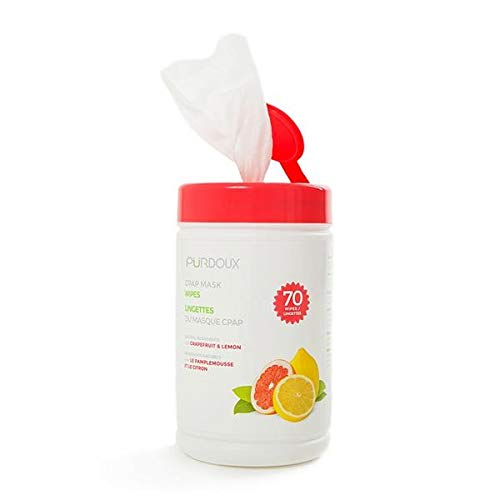 PÜRDOUX ™ CPAP mask wipes with grapefruit lemon scent, canister of 70 wet wipes