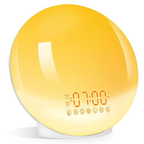 Lichtwecker Wake up Licht,LED Nachtlicht Erwachsene/Kinder,Sonnenaufgangssimulation Einschlafhilfe,2 Wecker FM Radio und 7 Natürliche Klänge Snooze Wecker,Nachtlicht mit 7 Farbige 20 Helligkeitsstufe