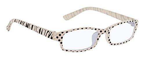 4sold Slim Damen Herren Lesebrille +0.50 +0.75 +1.0 +1.5 +2.0 +2.5 Blaufilterbrille Blaues Licht und UV Schutzbrille Bildschirmbrille fortgeschrittene Gamer Gamingbrille Computerbrille (Zebra, 2.50)