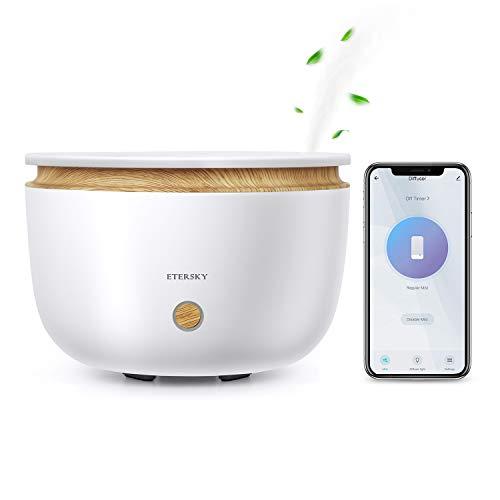 Smart Aroma Diffuser 500ml, Etersky WLAN Diffusor für Ätherische Öle, Ultraschall Duftlampe Luftbefeuchter Kompatibel mit Alexa Google Home, APP Steuerung, 7-LED-Farbe für Schlafzimmer Büro Spa