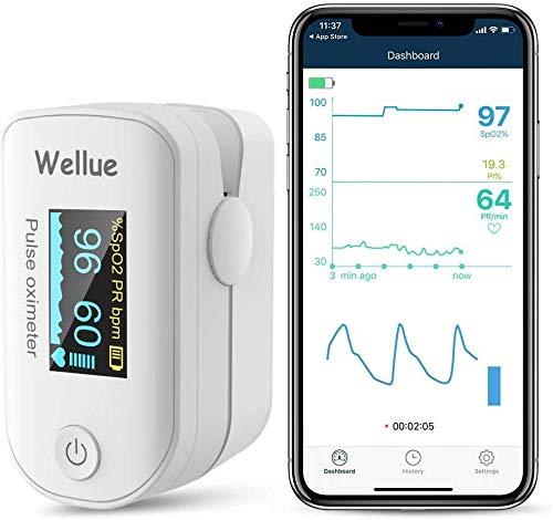 Wellue Pulsoximeter, Sauerstoffsättigung, Gesundheitsmonitor,Sauerstoffgehalt, Tragbares Gerät,Überwachung von Herzfrequenz und Sp-O2-Pegeln, mit APP über Bluetooth