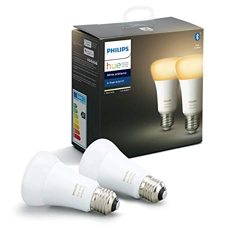 Philips Hue White Ambiance E27 LED Lampe 2-er Pack, dimmbar, alle Weißschattierungen, steuerbar via App, kompatibel mit Amazon Alexa (Echo, Echo Dot)
