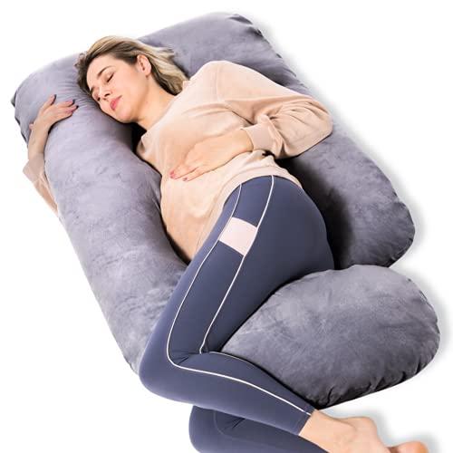 Momcozy Schwangerschaftskissen, U Förmiges Seitenschläferkissen, Abnehmbarem und Waschbarem Bezug, Schwanger Kissen hilft beim Einschlafen, Entspannen auf dem Sofa und Erleichtert das Stillen, Grau
