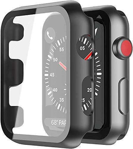 YoLin [2-Stück] Mit Panzerglas Ultradünne Displayschutz Kompatibel mit Apple Watch Series 3 Schutzhülle, PC All-Around Schutzhülle für iWatch 38mm (2 Schwarz)