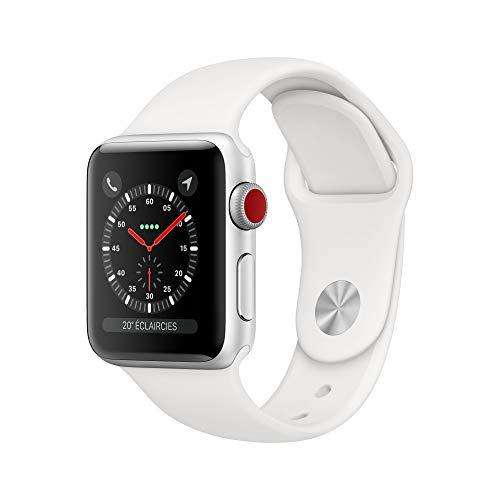 AppleWatch Series3 (GPS+Cellular), 38mm Aluminiumgehäuse, Silber, mit Sportarmband, Weiß