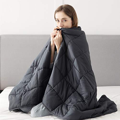 Bedsure Therapiedecke Gewichtsdecke Erwachsene 7kg - beschwerte Decke Gewicht Bettdecke ca. 7 kg, Weighted Blanket Adult 150x200 cm Entspannungsdecke schwer 100% Baumwolle mit Glasperlen Gewichtdecke