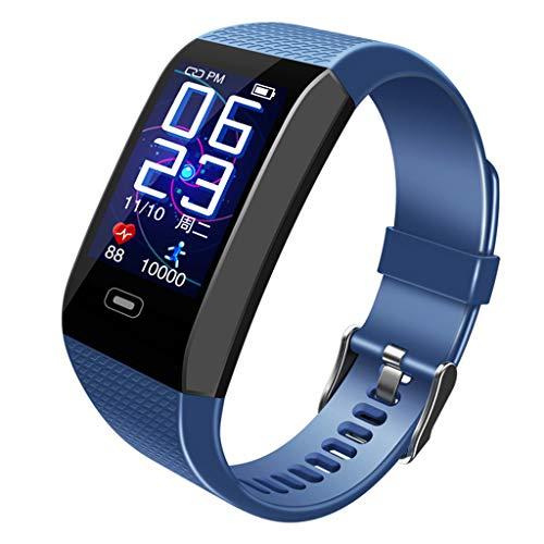QinMM Smartwatch Fitness Tracker Android iOS Wasserdicht IP68 Herren Damen Kinder Smart Watch Armbanduhr Pulsmesser Sport Schrittzähler Stoppuhr für iPhone Samsung Huawei blau