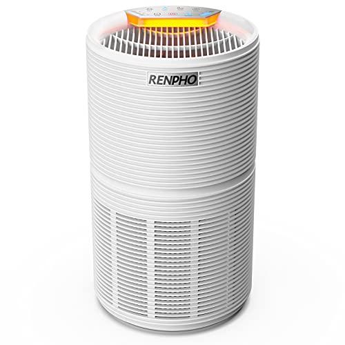 RENPHO Luftreiniger für Allergiker bis zu 44㎡, Air Purifier Raumluftreiniger mit Schlafmodus, Nachtlicht, Timer, H13 HEPA Luftfilter gegen Schimmel, Pollen, Staub für Raucher, Wohnung, Schlafzimmer