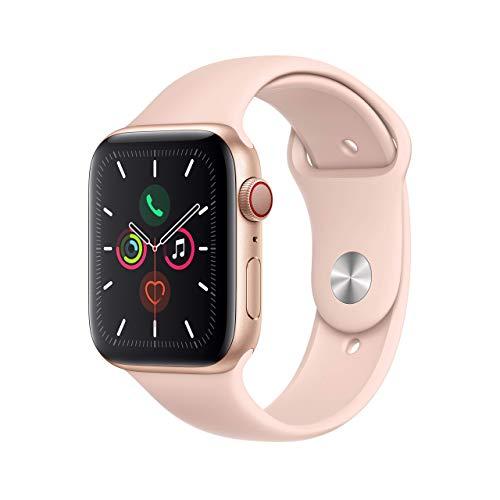 Apple Watch Series 5 44mm (GPS + Cellular) - Aluminiumgehäuse Gold Sandrosa Sportarmband (Generalüberholt)