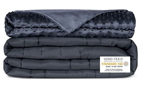 Newentor® Gewichtsdecke 6.8kg 152 x 203cm mit Abnehmenbarem Bezug Therapiedecke für Erwachsene Schwere Decke für Stressabbau Beschwerte Decke gegen Angst Schlafstörung, Grau