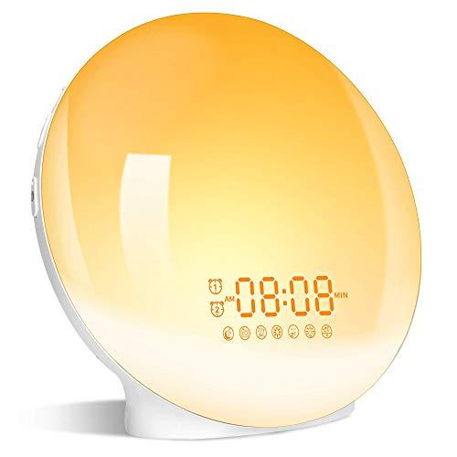 Lichtwecker Wake Up Licht Wecker mit zwei Alarmen Snooze -【Sonnenaufgang Sonnenuntergang Simulation】FM Radio &7 Natürlichen Klängen/ 7 Farben & 20 Helligkeit für Geschenk (Ab-01clock)