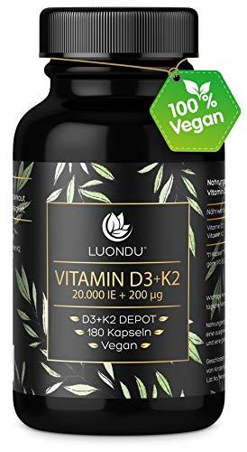 Luondu Vitamin D3 20.000 I.E + Vitamin K2 MK7 200 mcg Depot (180 Kapseln Hochdosiert & Vegan) Vitamin D3 K2 Kapseln hochdosiert I Ohne Zusätze, Hergestellt in Deutschland
