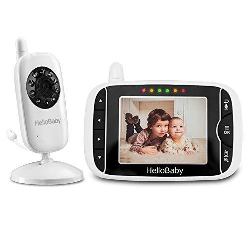 HelloBaby HB32 3.2' Digital Funk TFT LCD Drahtloser Video baby Monitor mit Digitalkamera, Nachtsicht-Temperaturüberwachung u. 2 Weise Talkback System (Weiß) (HB32)
