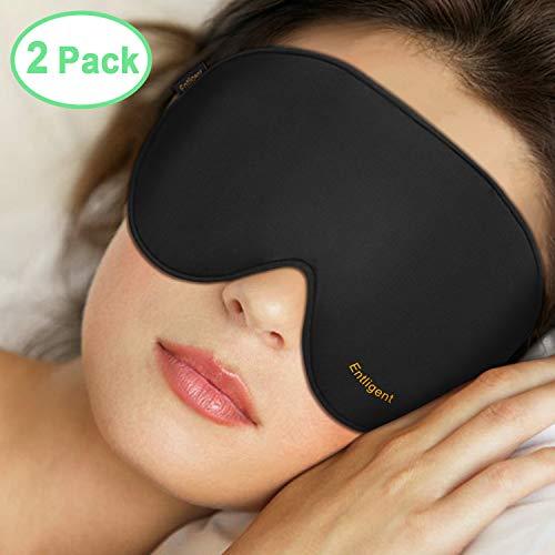 Entligent Schlafmaske Damen und Herren, [2 Stück, M + L] Augenmaske 100% Hautfreundlich Seide Schlafbrille, inkl. Ohrstöpseln, Ideal für Reisen und zu Hause