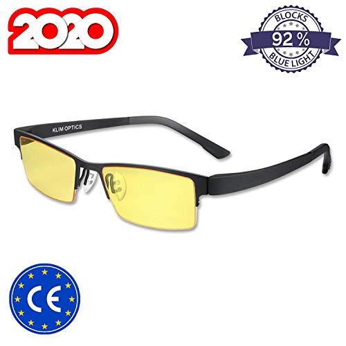 KLIM Optics - Blaulichtfilter Brille + Hoher Schutz + Gaming Brille für PC, Handy und Fernseher + Anti-Müdigkeit, Anti-Blaulicht, UV-Schutz [ Neue 2019 Version ]
