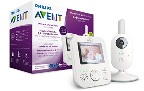 Philips AVENT Video Babyphone mit Kamera, SCD833/26, Tag- und Nachtansicht, hohe Reichweite, Eco-Mode, Mit FHSS-Technologie, 10 Stunden Akkulaufzeit, weiß