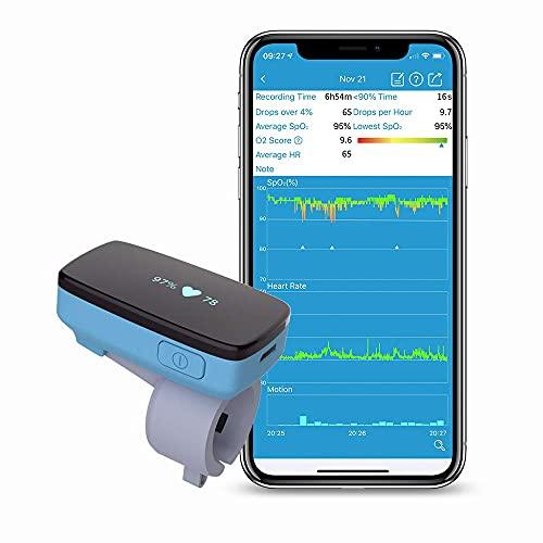 Wellue Schlafmonitor mit Vibrationsalarm, Sauerstoffgehalt und Herzfrequenzüberwachung die ganze Nacht, App über Bluetooth mit Bericht, Ringformsensor