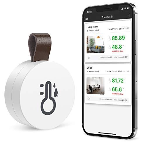 ORIA Bluetooth Thermometer Hygrometer, Innen Thermo-Hygrometer Kabelloses Mini mit Daten Export-funktion, kompatibel mit ios und Android für Wein,Wohnzimmer, Babyzimmer, Haus etc