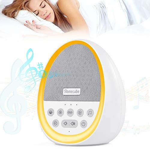 Einschlafhilfe für Kinder und Erwachsene,Homecube Entspannung White Noise Machine mit 29 sich nicht wiederholenden Geräuschen, mit 7 LED-Lichtern, wiederaufladbar, weiß