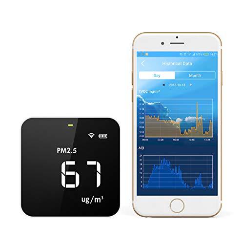 Temtop M10 WiFi Smart Luftqualitätsmessgeräte, detektor für PM2.5 HCHO TVOC AQI, Raumluftqualitätdetektor, Luftqualität Echtzeit-Anzeige, Alarm, Weiß