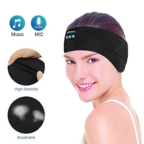 Kabelloses Bluetooth-Stirnband, E-More waschbare verstellbare Schlafkopfhörer, Schweißbänder, Freisprecheinrichtung, Musik-Sport-Headset mit Mikrofon, integrierte Lautsprecher für Laufen