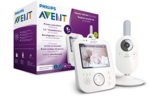 Philips Avent Babyphone mit Kamera SCD843/26 - 3,5 Zoll Farbdisplay, Tag und Nachtsicht, Scroll- und Zoomfunktion, 10h Betriebszeit, hohe Reichweite, Eco-Mode, Mit FHSS-Technologie, weiß