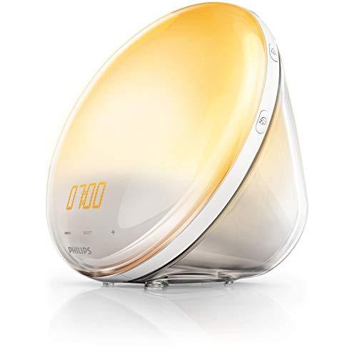 Philips HF3519/01 Wake-up Light (Sonnenaufgangfunktion, Digitales Fm Radio, Tageslichtwecker) Weiß