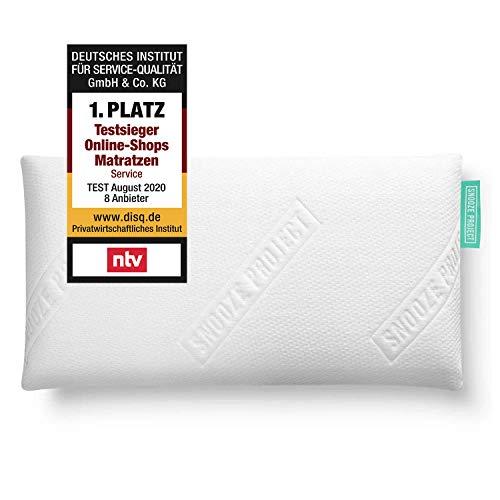 Snooze Project Nackenstützkissen 80 x 40 cm - Orthopädisches Kopfkissen - 80x40 Memory-Foam Kissen - Allergiker geeignet - Bezug weiß und waschbar bei 60 Grad
