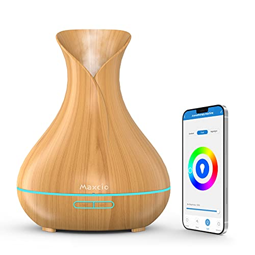 Smart Aroma Diffuser 400ml, Maxcio WLAN Ultraschall Duftöl Diffusor Lufterfrischer mit Duftlampe, Kompatibel mit Alexa und Google Home, Timer Funktion, Alexa Zubehör