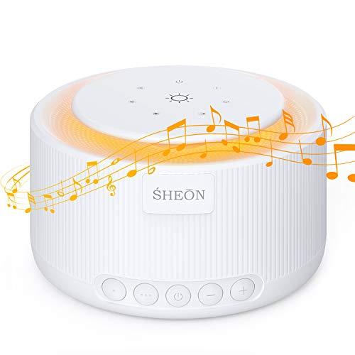 White Noise Machine, SHEON Einschlafhilfe Babys Erwachsene Weißes Rausche Maschine für besseren Schlaf, 30 Natürliche Geräuschen, Tragbarer Schlaftherapie Klangtherapie [Mit Nachtlicht & Timer]