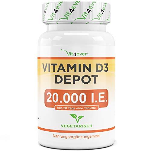 Vitamin D3 20.000 I.E. Depot - 240 Tabletten - Hochdosiert - Vergleichssieger 2019/2020* - Laborgeprüft - Vegetarisch - Hohe Reineit - 20 Tagesdosis 1000 I.E. pro Tag - Premium Qualität