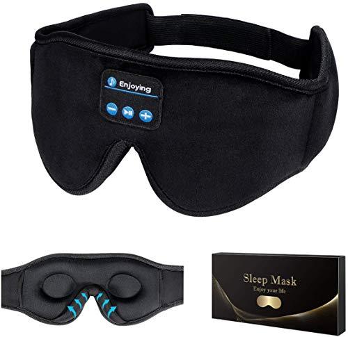 Schlafkopfhörer Bluetooth, 3D Schlafmaske Augenmaske Schlaf Kopfhörer, Bluetooth 5.2 Sleepphones Sleep Headphones Sleeping Eye Mask mit HD Stereo Lautsprecher, Schlafbrille für Schlafen, Reisen,Yoga