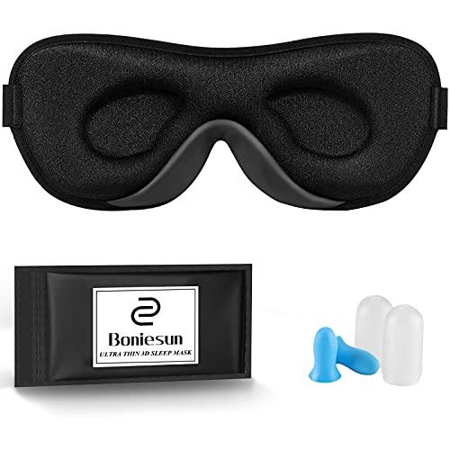 Boniesun Ultradünne Schlafmaske für Frauen & Männer, Schlafmaske für Seitenschläfer Verdunklungs-Augenmaske zum Schlafen Glatte Hautfreundliche Kühlende Seide 3D Konturierte Schalen-Augenbinde