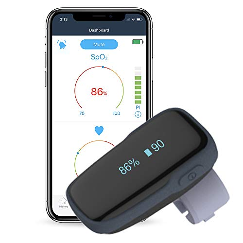 Tragbarer Schlafmonitor Bluetooth, Sauerstoffpegelmonitor mit akustischer Erinnerung am Gerät & Smartphone Kostenloser APP-Weichsilikonring Sp-o2-Monitor für Tracker Wiederaufladbar