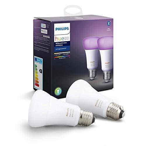 """Philips Hue White & Color Ambiance E27 LED Lampe Doppelpack, dimmbar, bis zu 16 Millionen Farben, steuerbar via App, kompatibel mit Amazon Alexa (Echo, Echo Dot), Gerät """"Zertifiziert für Menschen"""""""