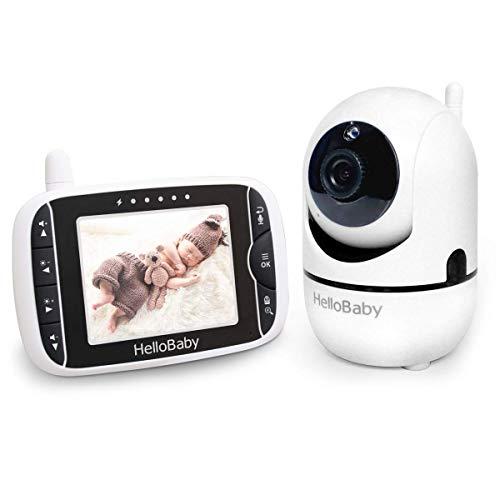 HelloBaby Video Babyphone mit Fernbedienung Pan-Tilt-Zoom,Temperaturüberwachung, Wiegenlied, Zwei-Wege-Audio, inkl. Wandhalterung (HB65)