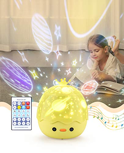 Bluefire Nachtlicht für Kinder, Sternenprojektor, 360 ° drehbar, Musik, Nachtlicht + Bluetooth-Lautsprecher + Timer + Fernbedienung, LED-Nachtlicht Sternenhimmel für Babys zum Geburtstag, Weihnachten