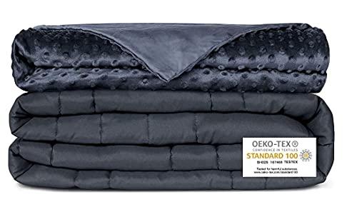 Newentor® Gewichtsdecke 9.1kg 152 x 203cm mit Abnehmenbarem Bezug Therapiedecke für Erwachsene Schwere Decke für Stressabbau Beschwerte Decke gegen Angst Schlafstörung, Grau