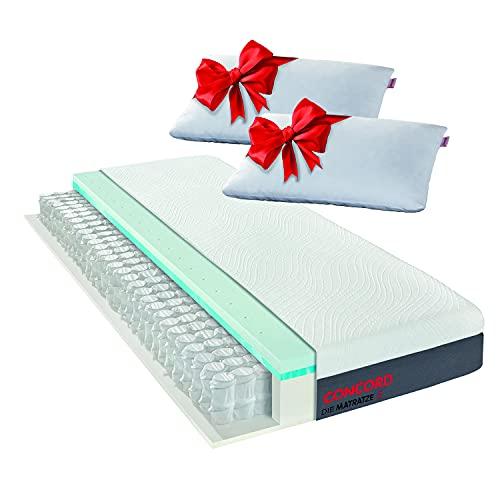 Matratzen Concord DIE MATRATZE Taschenfederkernmatratze mit Duo Topper und gratis Kissen 140x200, Höhe 24 cm, Atmungsaktiv, Oeko Tex
