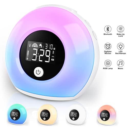 Wake Up Light Lichtwecker mit Bluetooth-Lautsprecher ,Wecker Kinder mit Nachtlampe Reisewecker,Wecker mit Licht, Dimmbar, 5 Farbwechsel, geeignet für Kinder, Schlafzimmer, Gift.