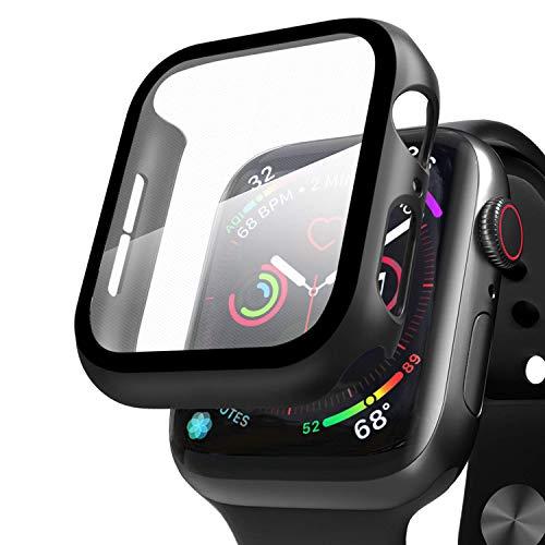 Qianyou Kompatibel mit Apple Watch 44mm Series 6/SE/5/4 Hülle mit Displayschutz, PC+Panzerglasfolie Vollschutz Hardcase HD Folie Ultra Dünn Schutzhülle Bumper Tempered Glass Screen Protector